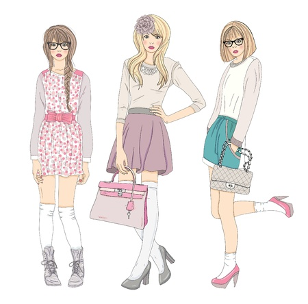 fashion design: Young fashion girls illustration. Vector illustration. Background with teen females in fashionable clothes posing. Fashion illustration.