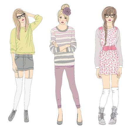 sketch: Jonge mode meisjes illustratie. Vector illustratie. Achtergrond met tiener vrouwen in modieuze kleding poseren. Mode-illustratie.