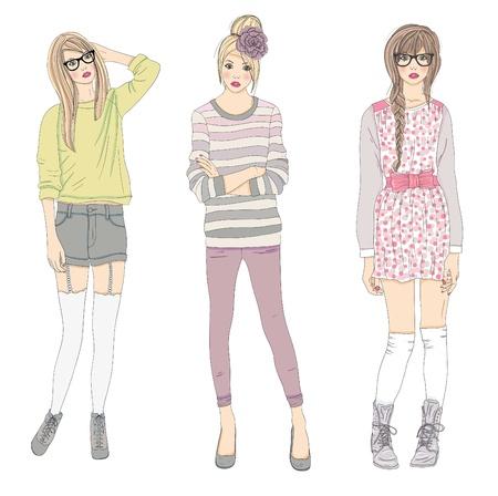 bocetos de personas: Las chicas de moda joven ilustraci�n. Ilustraci�n del vector. Fondo con las mujeres adolescentes en ropa de moda posando. De ilustraci�n de moda.