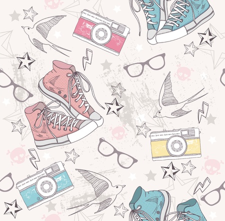 Cute grunge abstract pattern. Seamless pattern with shoes, photo cameras, glasses, stars, thunders and birds. Fun pattern for children or teenagers. Vector