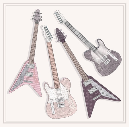 electric guitars: Electric and bass guitars set. Cute guitars with floral pattern. Illustration