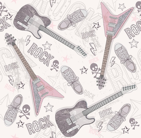 Cute grunge abstract pattern. Seamless pattern with guitars, shoes, skulls, text and stars. Fun pattern for children or teenagers. Pattern with punk or rock music elements. Vector