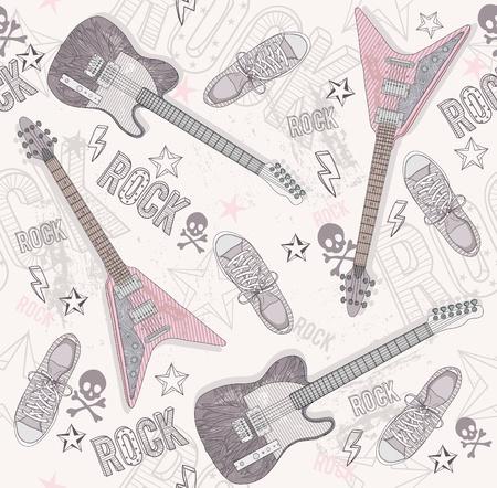 cr�nes: Mignon grunge motif abstrait. Seamless avec des guitares, des chaussures, des cr�nes, du texte et des �toiles. Motif amusant pour les enfants ou les adolescents. Motif avec des �l�ments de musique punk ou rock. Illustration