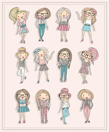 Cartoon girls. Fashion children. Set of cute girls with fashionable clothes, hairstyles and glasses. Illustration