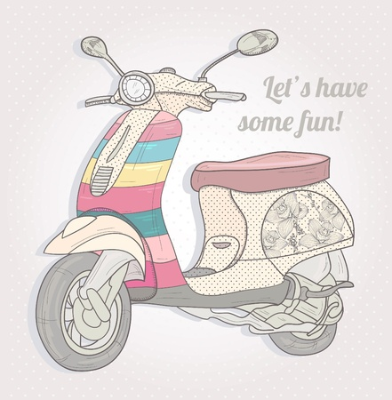 Colorful vintage scooter. Postcard, greeting card or invitation. Vector
