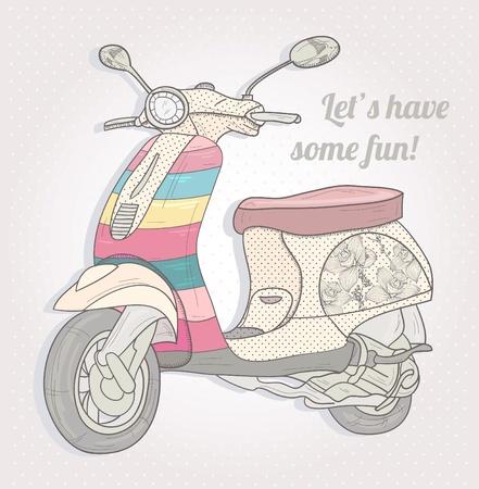 Kleurrijke vintage scooter. Postcard, wenskaart of uitnodiging. Vector Illustratie