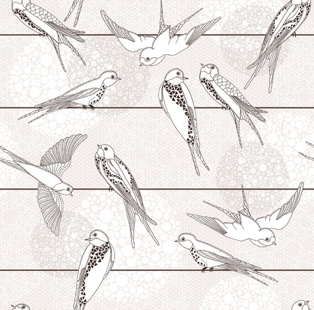 Abstract seamless pattern. Bird on the wires.