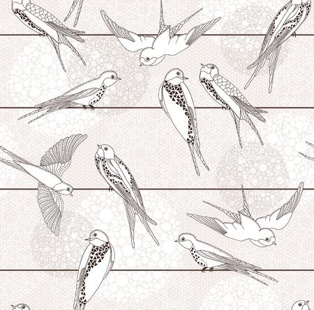 oiseau dessin: Résumé seamless. Oiseau sur les fils. Illustration