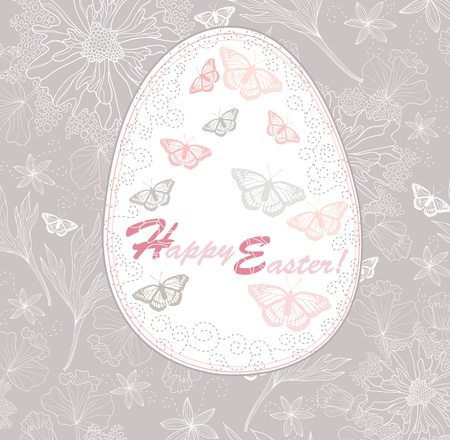 Easter egg. Easter card with floral pattern. Vector