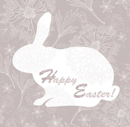 Easter rabbit. Easter card with floral pattern. Stock Vector - 12497458