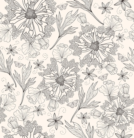 botanical drawing: Abstract floral pattern. Seamless pattern with flowers and butterfly. Floral background.