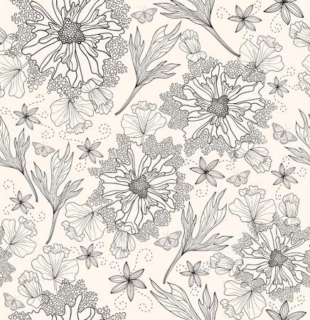 dalia: Patrón floral abstracto. Patrón sin fisuras con flores y mariposas. Fondo floral.