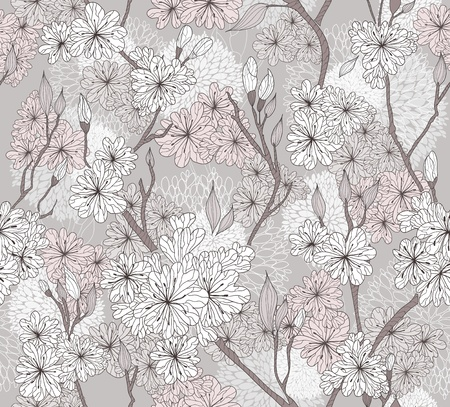 Seamless cherry blossom flowers pattern. Abstract floral pattern.