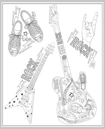 Roca música elementos de diseño establecido. Ilustración de vector