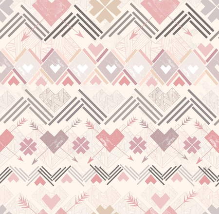 Abstract geometric seamless pattern. Aztec style pattern with hearts. Vector