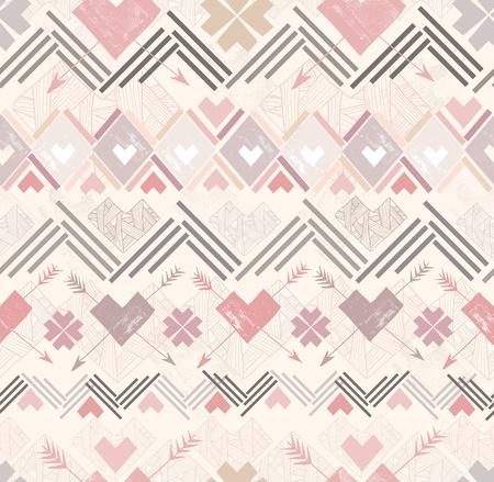 Résumé motif géométrique parfaite. Motif de style aztèque avec des coeurs.