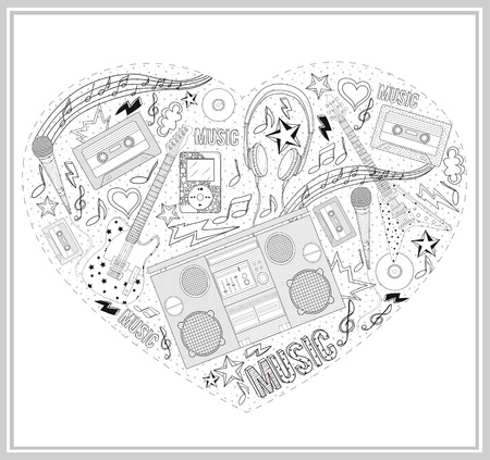 Heart from hand drawn music elements. Vector