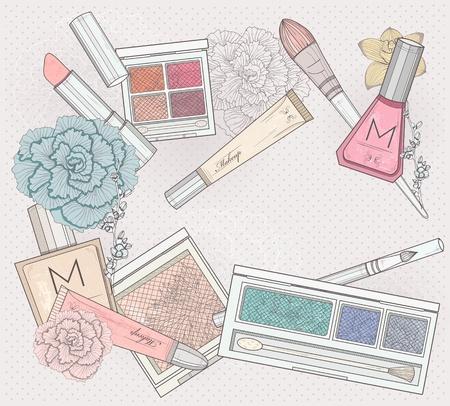 make up brush: Maquillaje y cosm�ticos de fondo. Fondo con los elementos de maquillaje y flores. Vectores