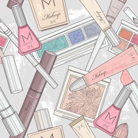 yeux maquill�: Maquillage transparente et le motif cosm�tiques. Illustration