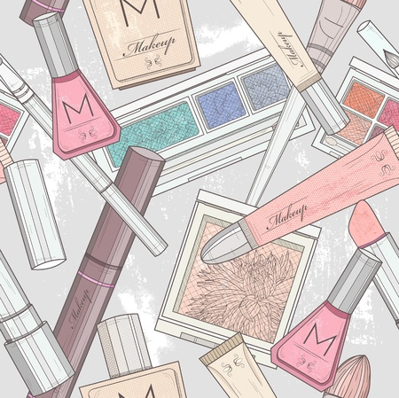Seamless makeup and cosmetics pattern. Vector