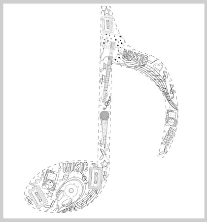 Note from hand drawn music elements. Vector