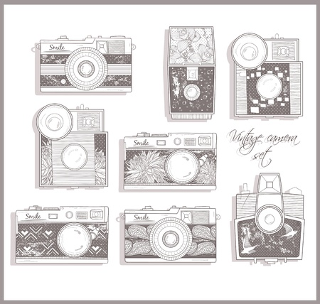 vintage wallpaper: Retro photo cameras set. illustration. Vintage cameras with flowers. Camera with floral pattern. Illustration