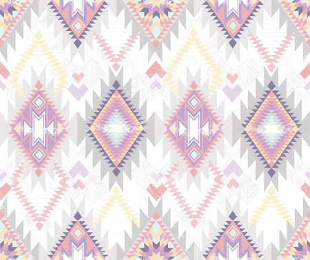 ikat: Abstract geometric seamless aztec pattern  Colorful ikat style pattern