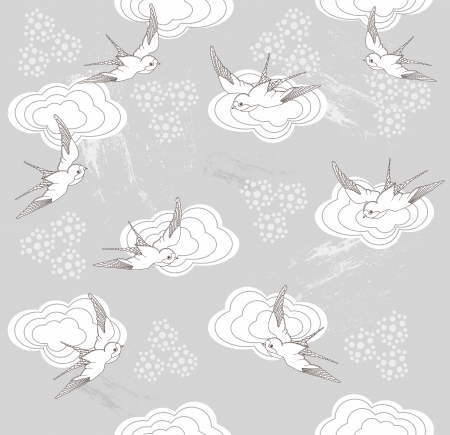 swallow bird: Cute seamless swallow and cloud pattern