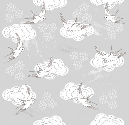Cute seamless swallow and cloud pattern Vektoros illusztráció