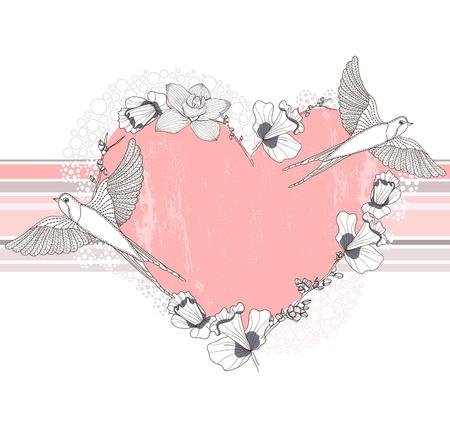 golondrina: Coraz�n hecho con flores y p�jaros tarjetas postales, tarjetas de felicitaci�n o invitaci�n Vectores