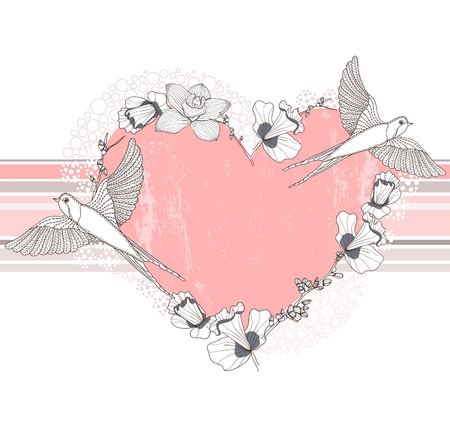 Heart made from flowers and birds  Postcard, greeting card or invitation   向量圖像