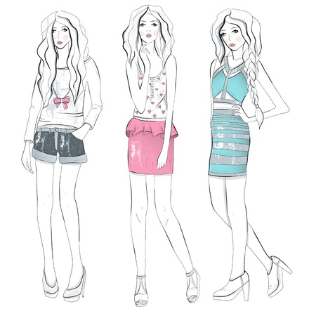 Young fashion girls illustration   Background with teen females in fashionable clothes posing  Fashion illustration  Vector