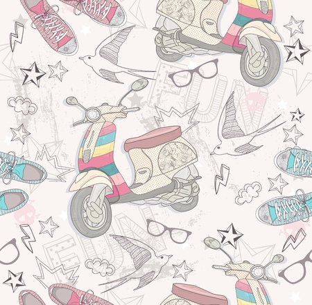 Cute grunge abstract pattern  Seamless pattern with shoes, retro scooter, glasses, stars, thunders and birds  Fun pattern for children or teenagers  Vector