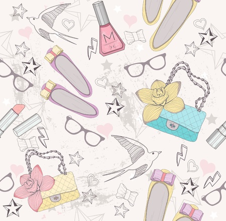fashion illustration: Cute fashion seamless pattern for girls  Pattern with shoes, bags, cosmetic, makeup elements, glasses and birds  Illustration