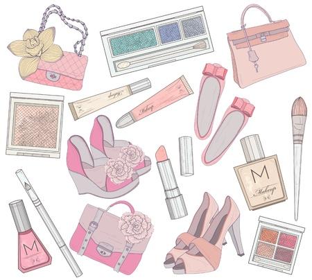 Zapatos de mujer, maquillaje y elementos de bolsas de conjunto de productos de cosmética, calzado, bolsos y accesorios para la ilustración vectorial