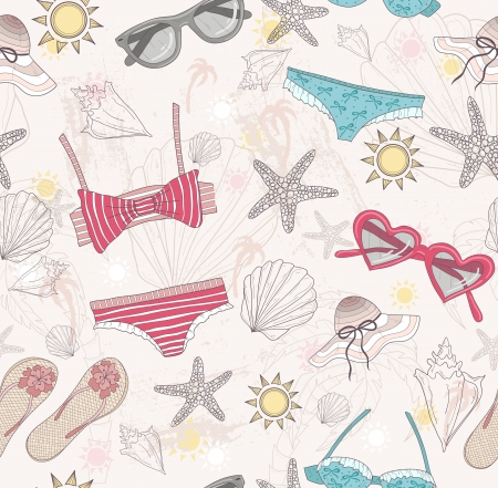 Cute summer abstract pattern  Seamless pattern with swimsuits, sunglasses, suns, stars, and seashells   Fun pattern for children or teenager girls  Vector