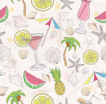 Cute summer abstract pattern  Seamless pattern with coctails, sunglasses, fruits, palms, and seashells   Vector