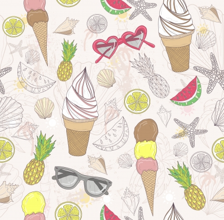 Cute summer abstract pattern  Seamless pattern with ice creams, sunglasses, fruits, stars, and seashells   Fun pattern for children or teenagers  Vector