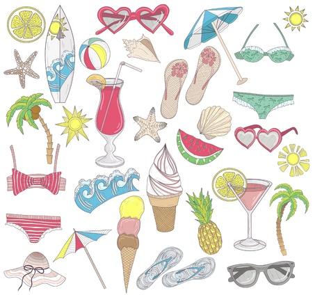 Summer beach elements set  Vector