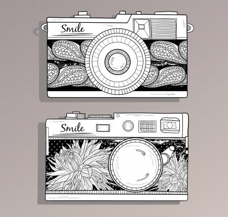 esporre: Macchine fotografiche retro set fotocamere d'epoca con la macchina fotografica, con fiori astratti motivi floreali