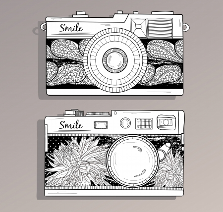 Retro photo cameras set   Vintage cameras with flowers  Camera with abstract floral pattern  Vector