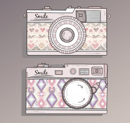 vintage foto: Retro foto camera Vintage camera's ingesteld met ornamenten camera met aztec stijl patroon Stock Illustratie