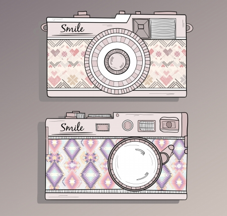Retro photo cameras set   Vintage cameras with ornaments  Camera with aztec style pattern  Vector