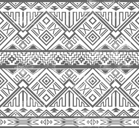 ikat: Abstract geometric seamless aztec pattern  Ikat style pattern  Illustration