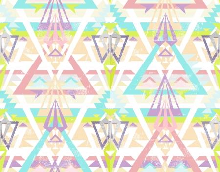 Abstract geometric seamless aztec pattern  Colorful ikat style pattern