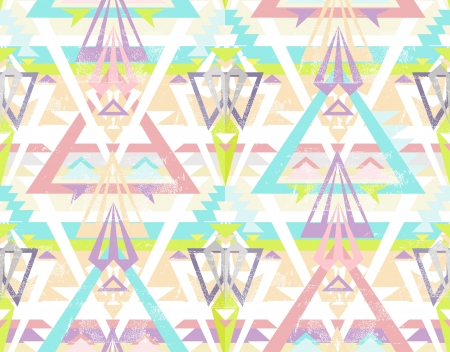 Abstract geometric seamless aztec pattern  Colorful ikat style pattern  Vector