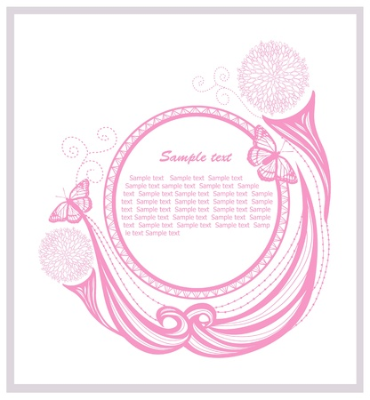 Invitation template with floral elements  Abstract border or frame  Vector