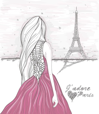 Girl looks at eiffel tower  Hand Drawn paris postcard  Vector