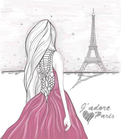 paris: Girl looks at eiffel tower  Hand Drawn paris postcard