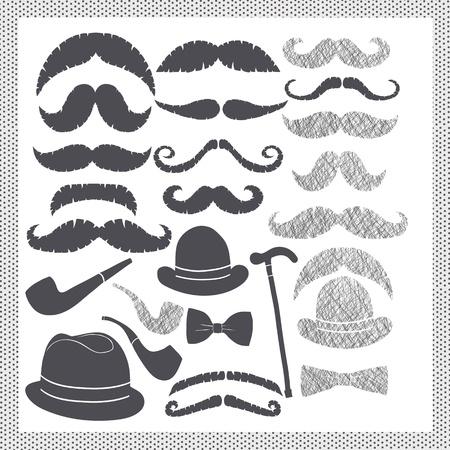 bouliste: vintage set avec des moustaches, des chapeaux et des tuyaux